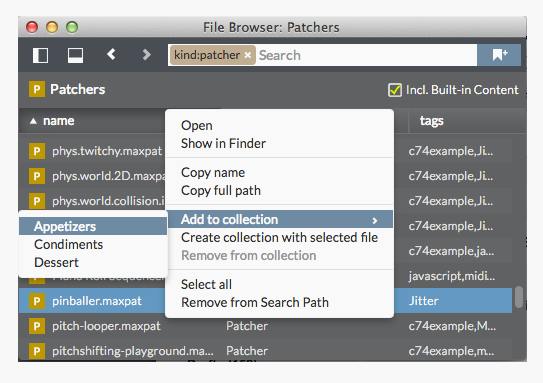 Add files to collections in the file browser